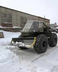 Болотоход СВБ с отвалом для уборки снега